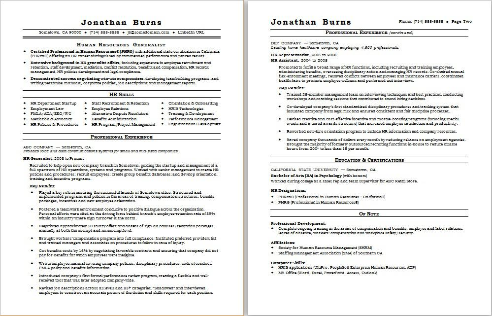 Sample resume for a human resources generalist