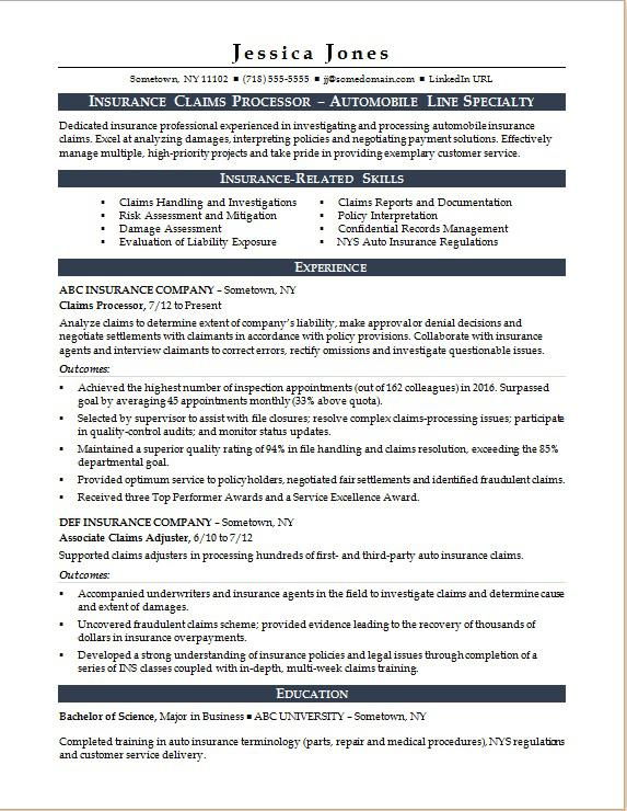 Insurance Claims Processor Resume Sample | Monster.com