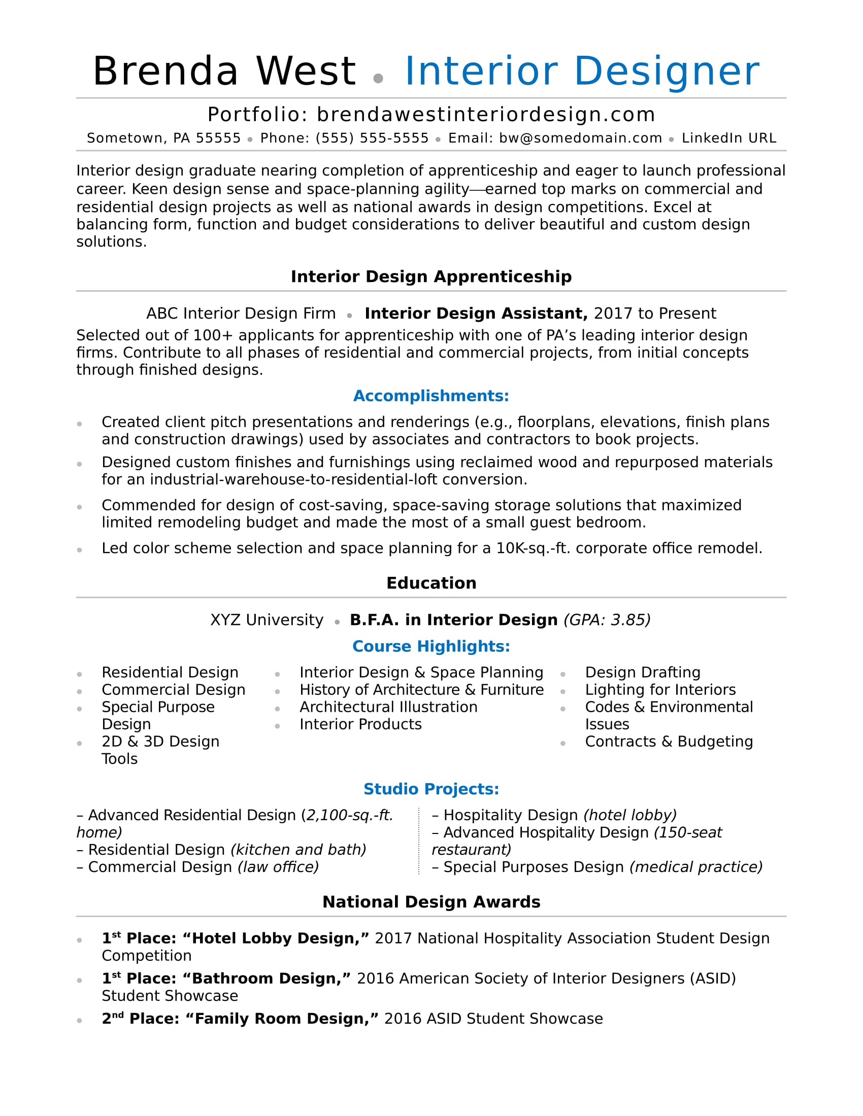Wonderful Interior Design Resume Sample