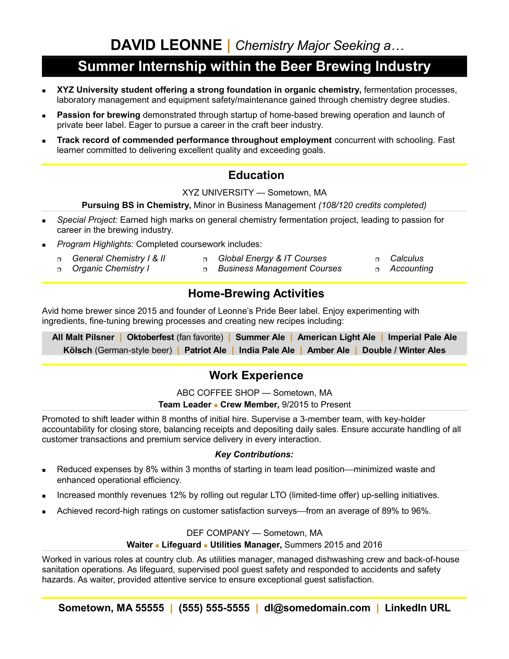 resume sample internship