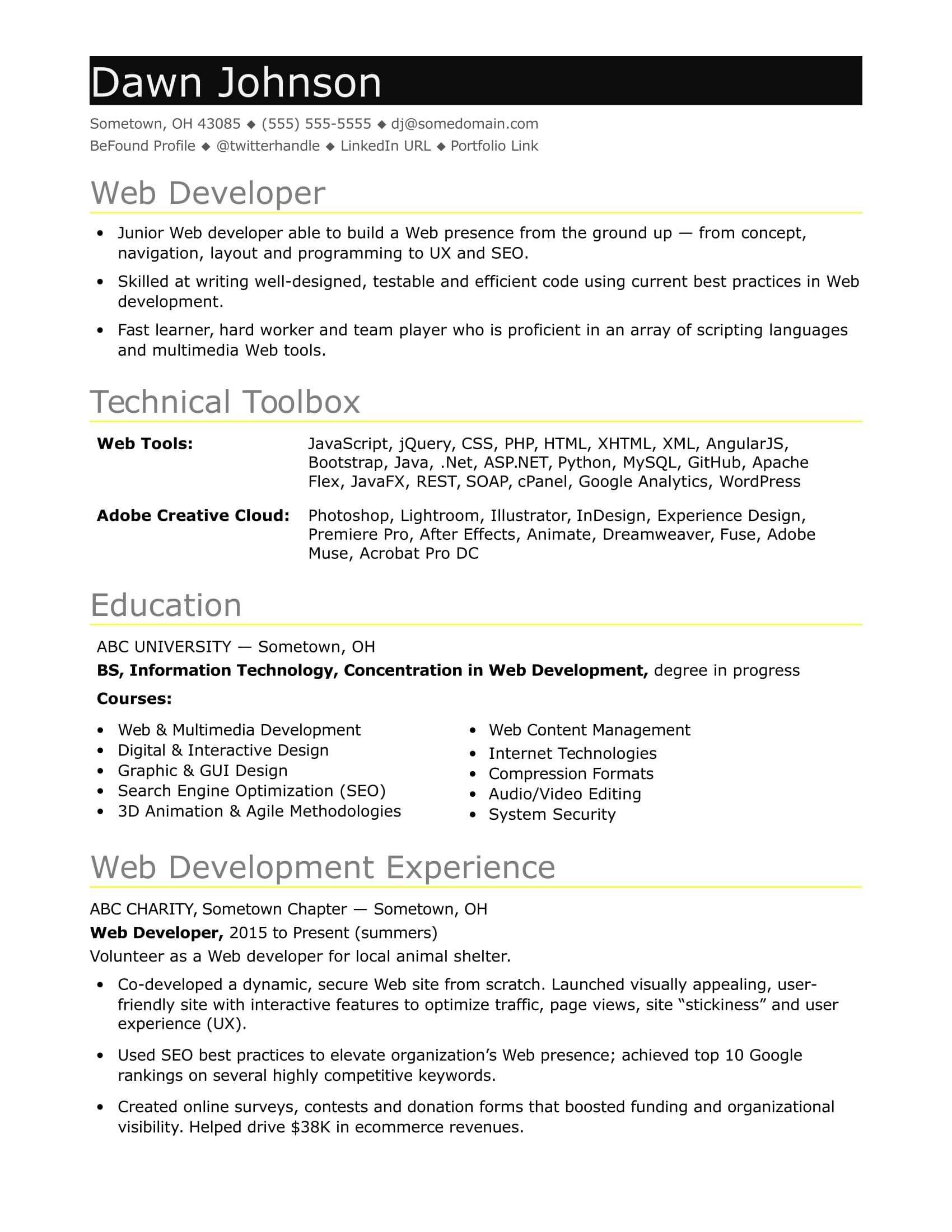 Web Developer Resume No Experience