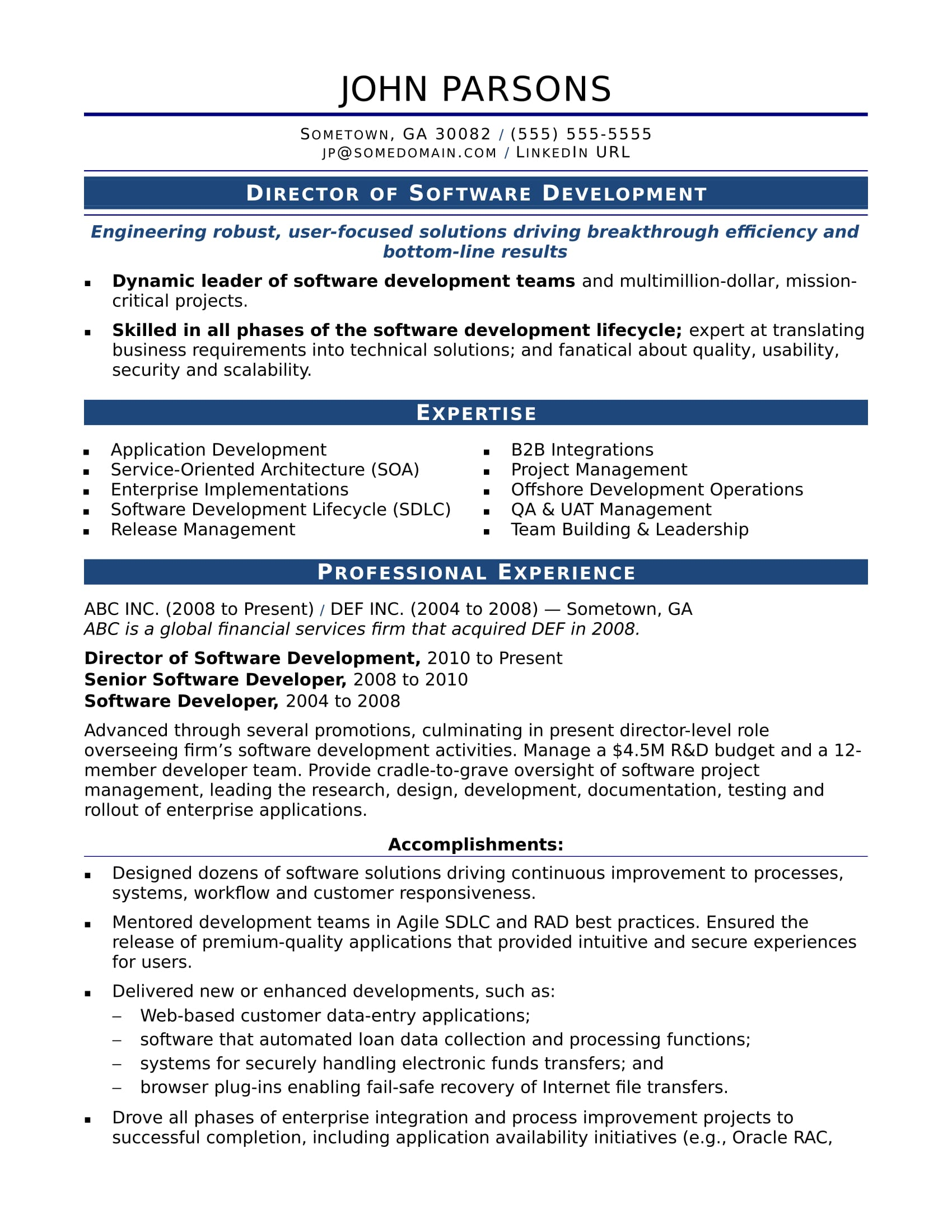 sample resume for an experienced it developer - Software Developer Sample Resume