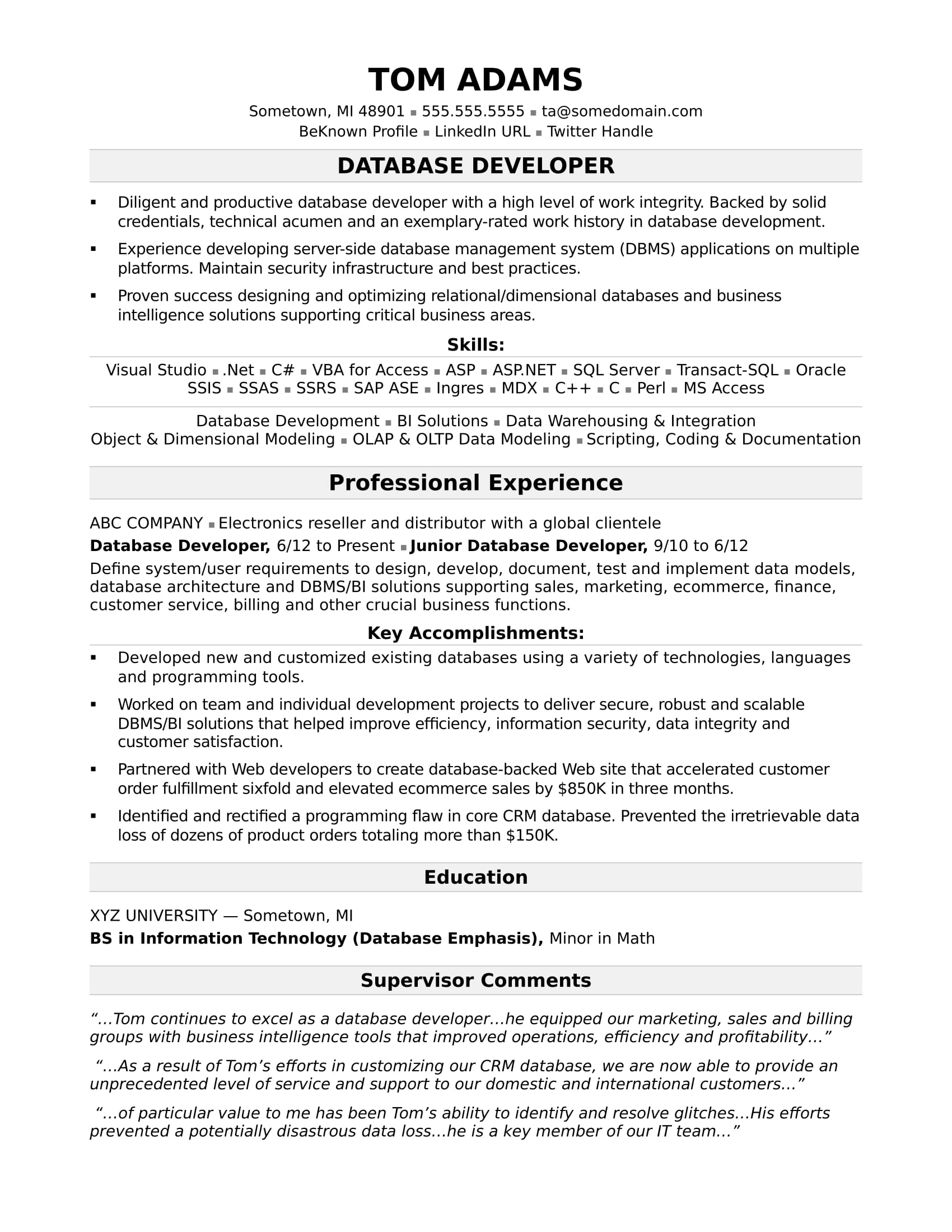 Superb Sample Resume For A Midlevel IT Developer Intended Database Developer Resume