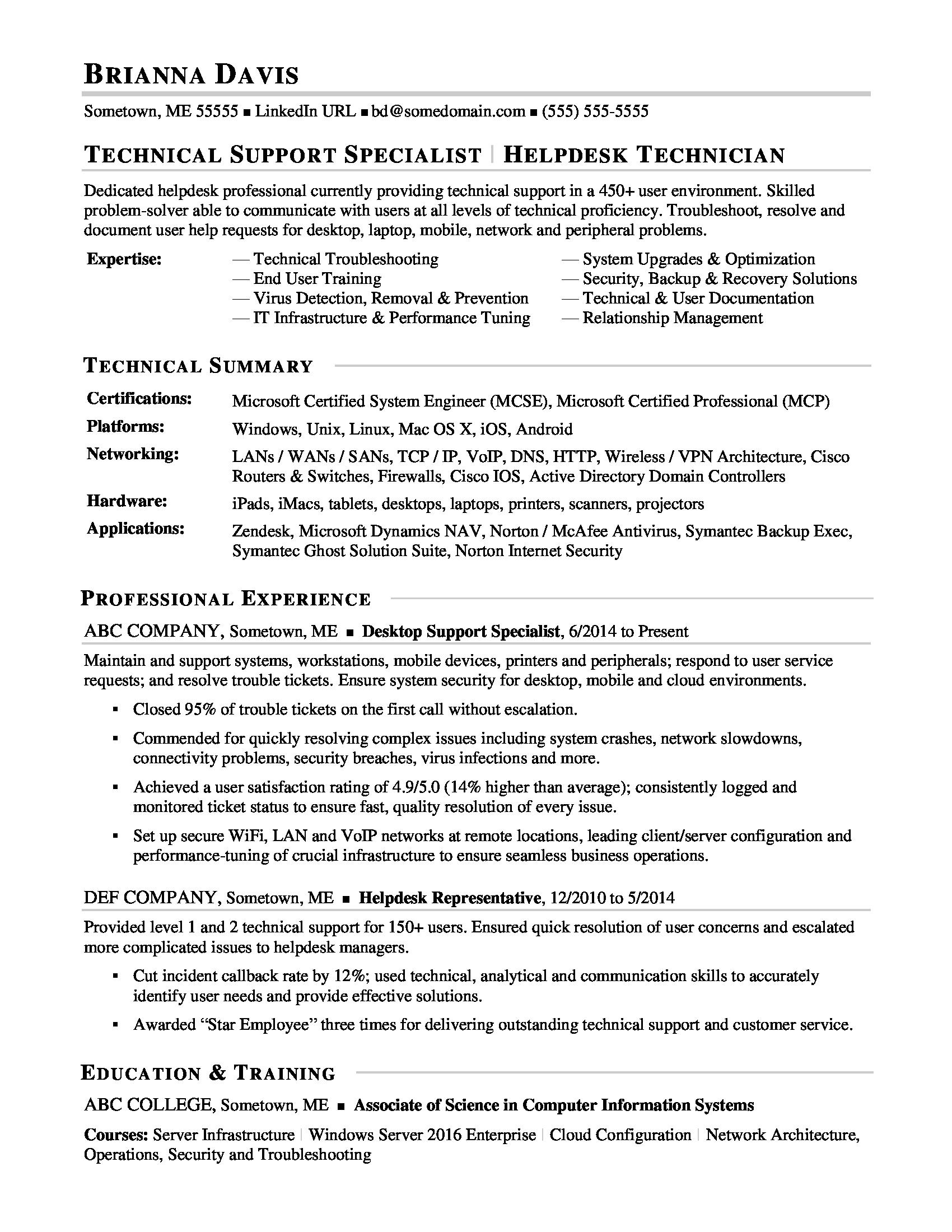 Sample Resume For Experienced IT Help Desk Employee  Technical Support Resume