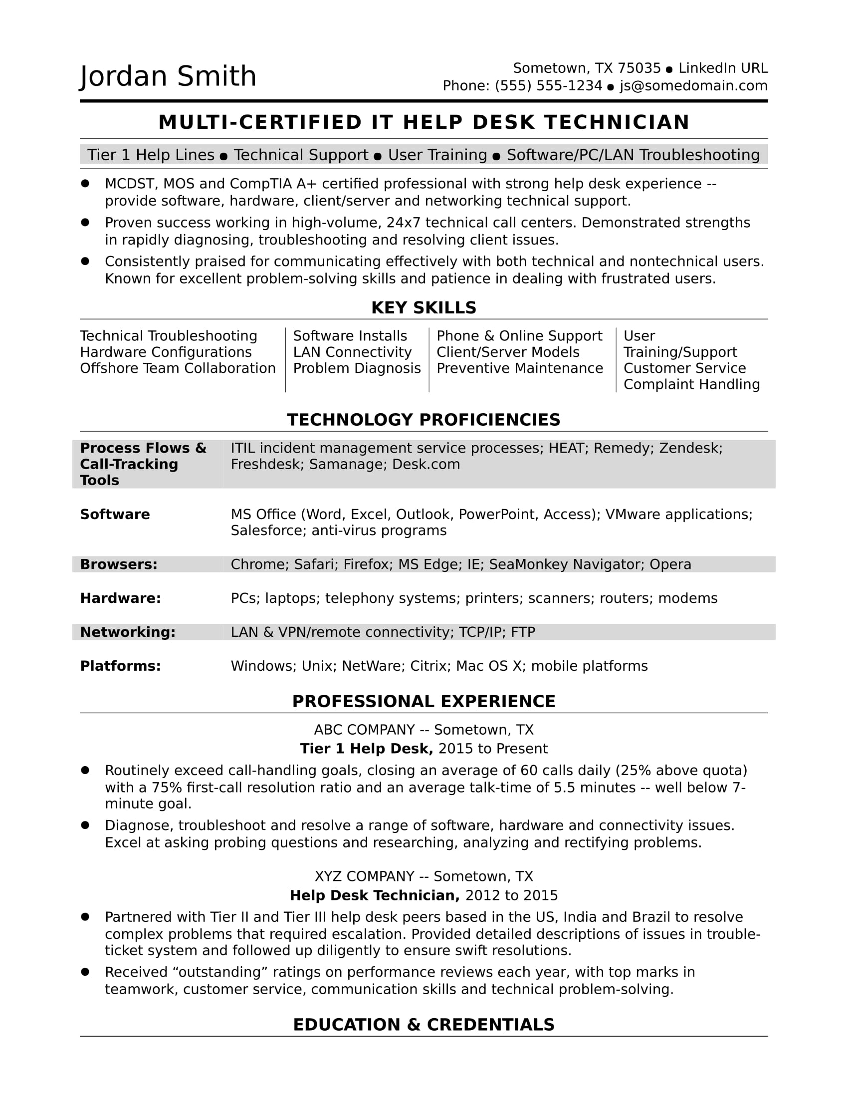 Sample Resume for a Midlevel IT Help Desk Professional | Monster.com