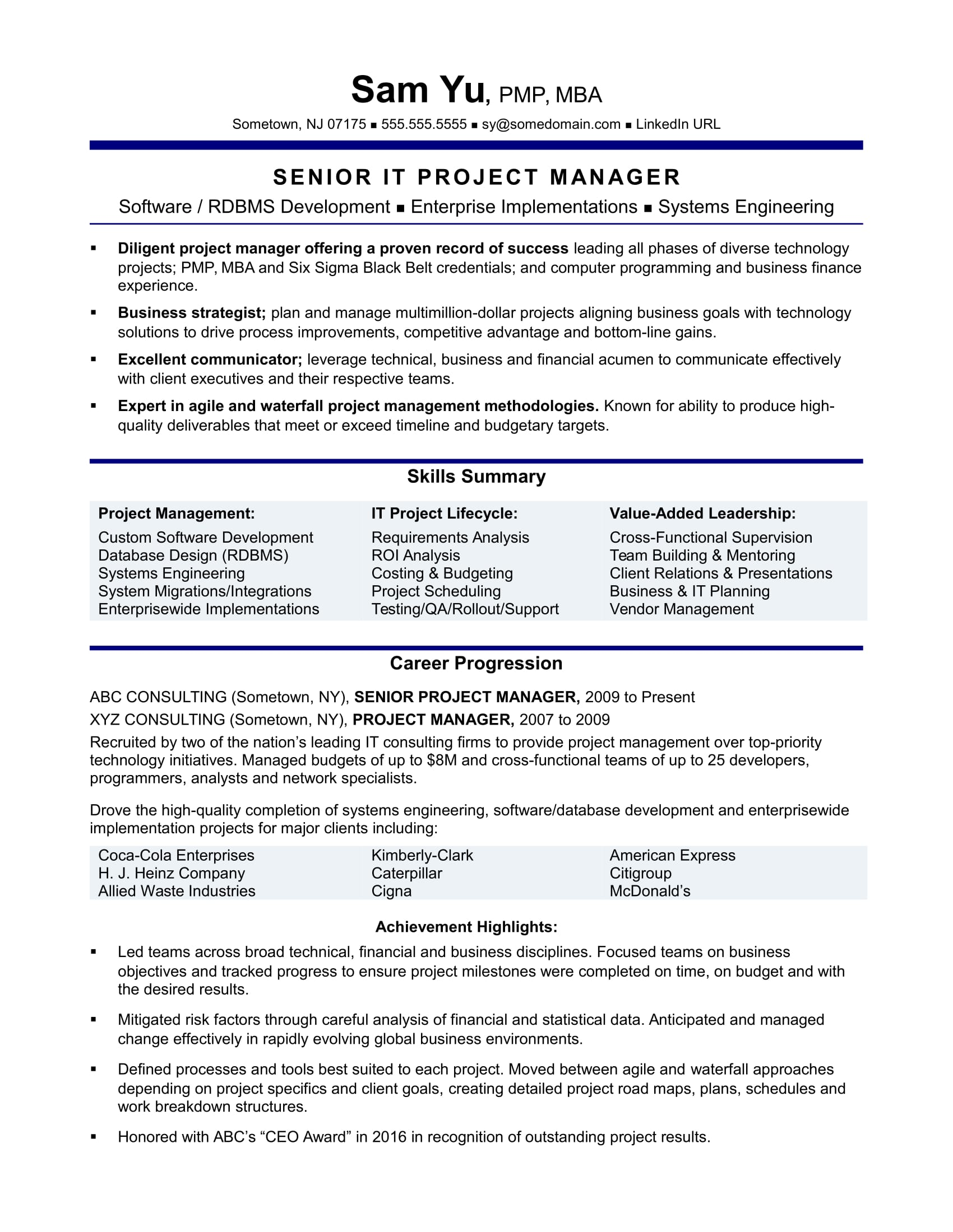 Superior Experienced IT Project Manager Resume Sample