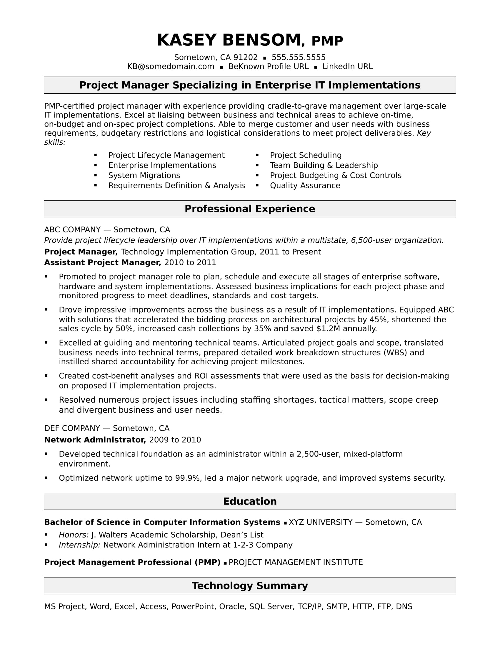 Sample Resume For A Midlevel IT Project Manager