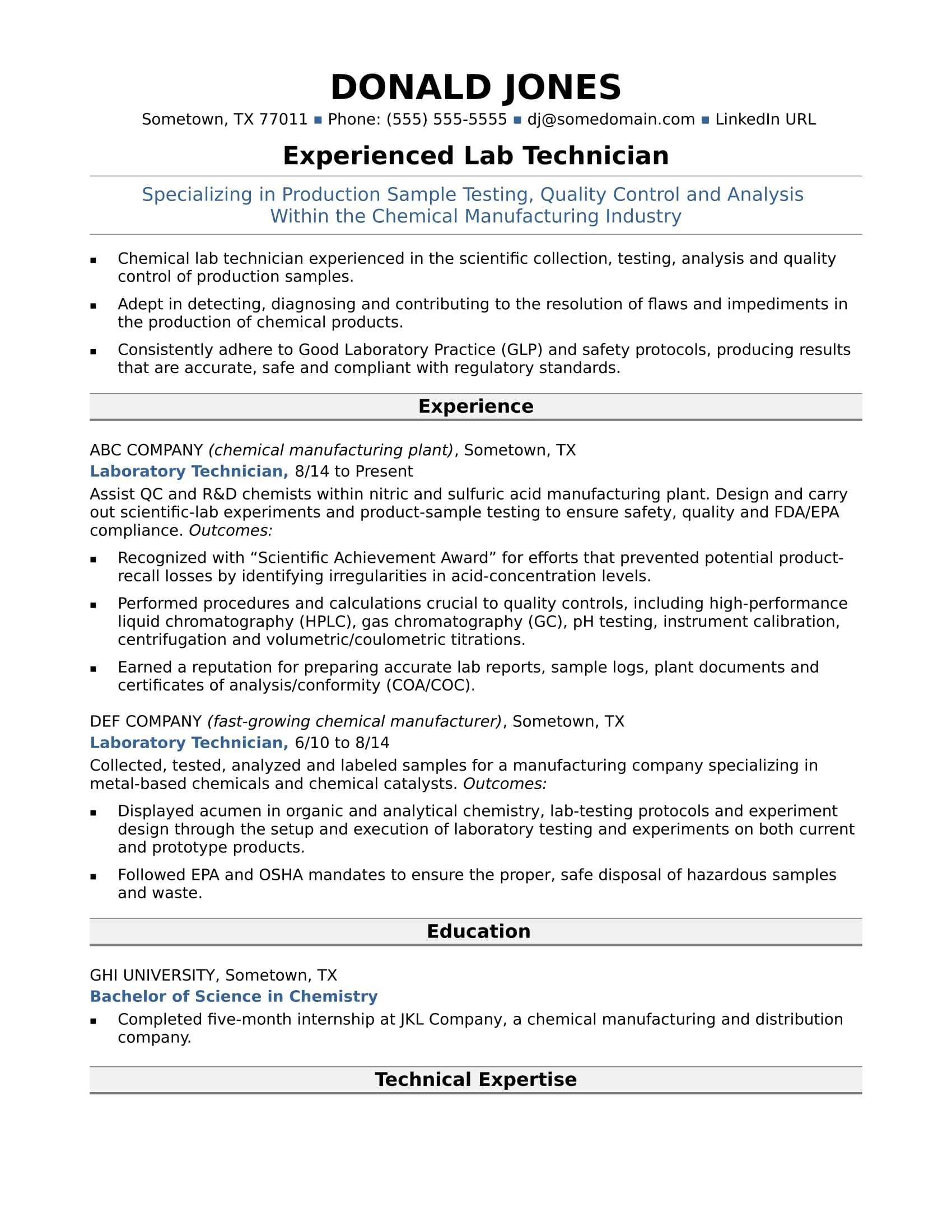 Sample Resume For A Midlevel Lab Technician  Sample Resume It