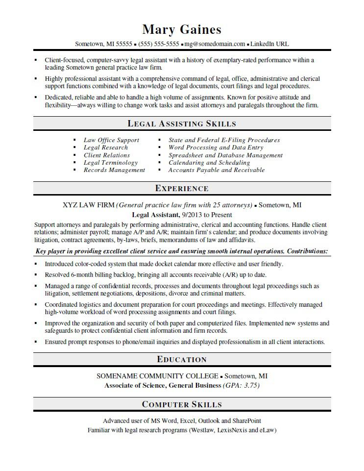 Legal Assistant Resume Sample  Legal Resumes
