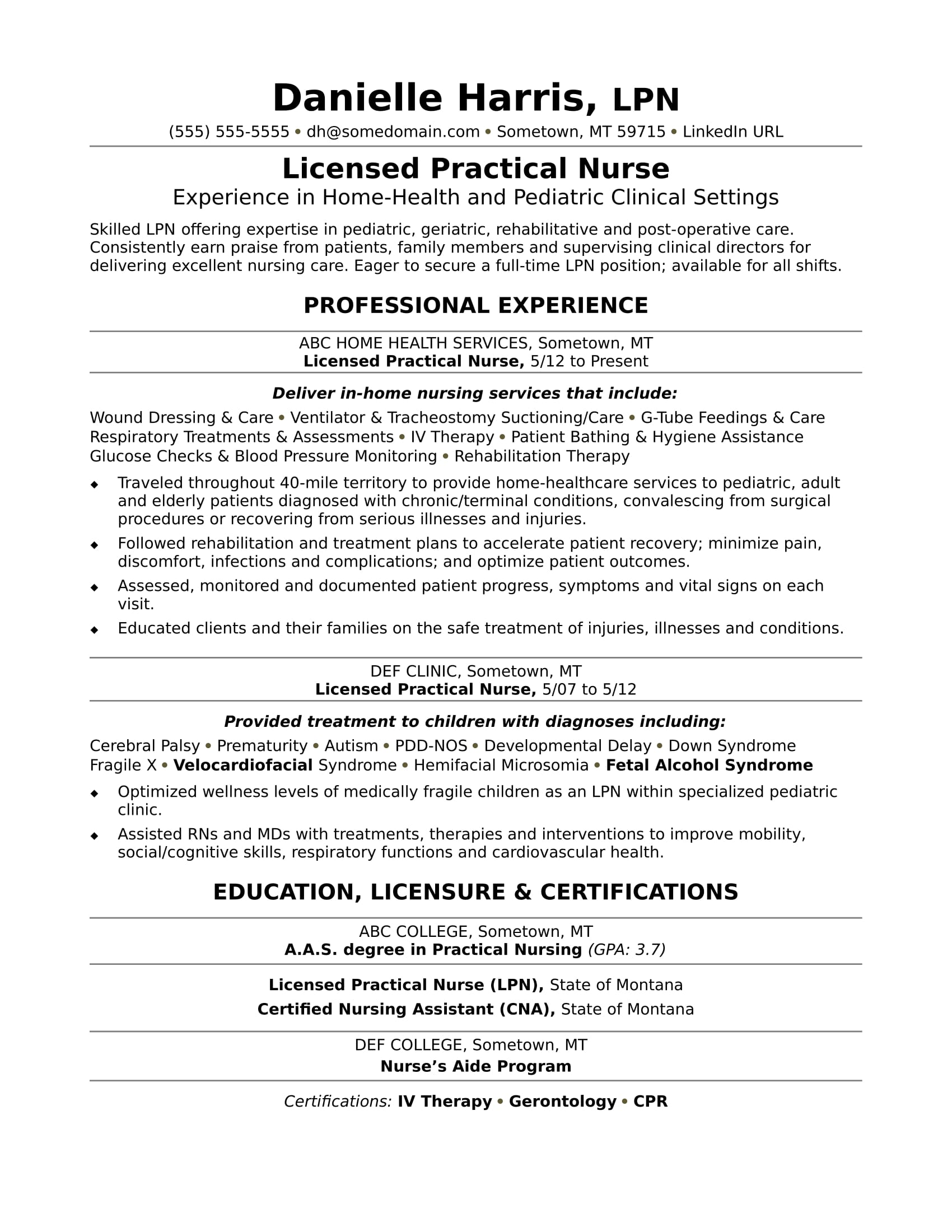 lvn sample resume licensed practical