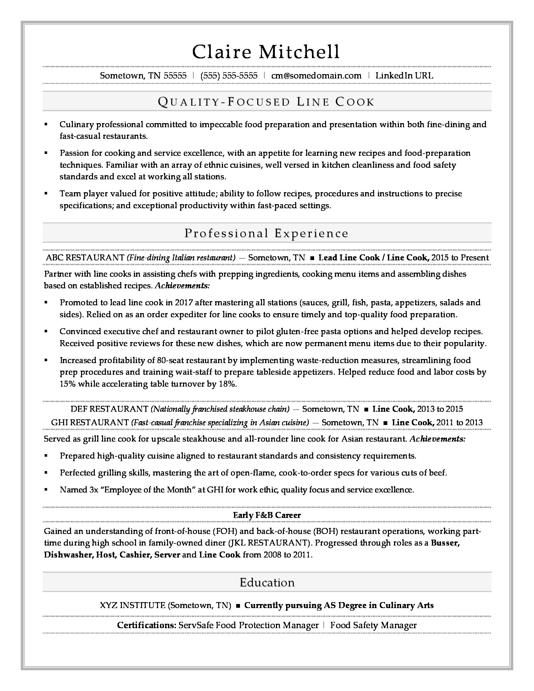 line cook resume sample - Cook Resume Sample