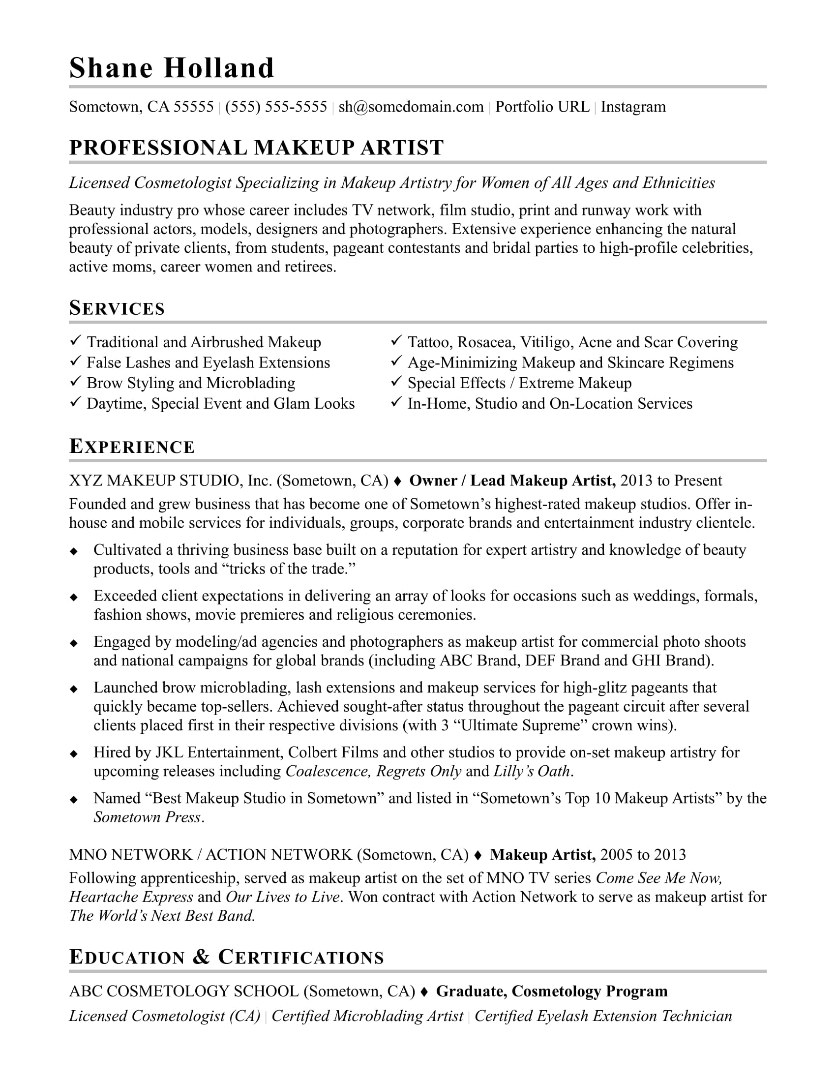 Makeup Artist Resume Sample  Entertainment Industry Resume