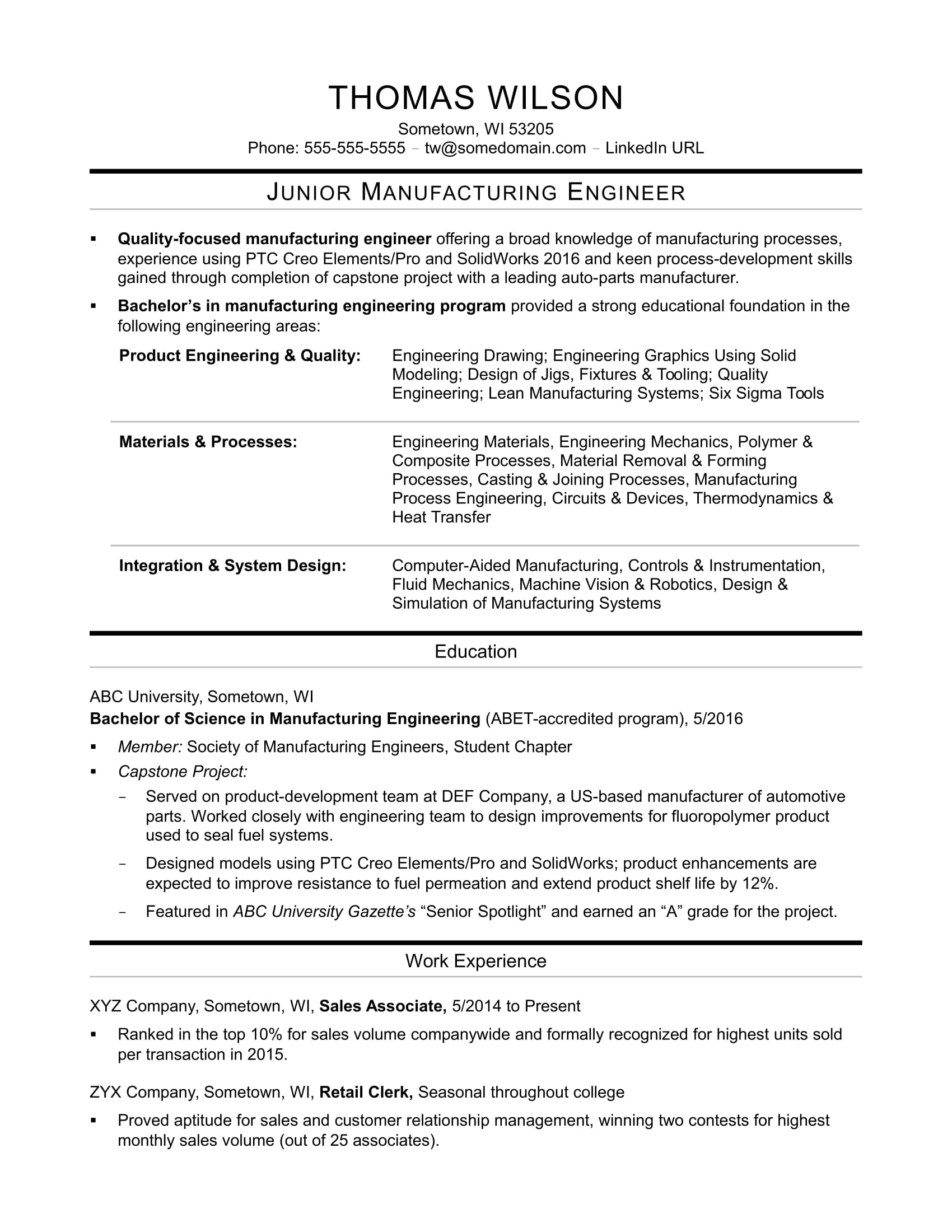 sample resume for an entry level manufacturing engineer - Manufacturing Engineer Sample Resume