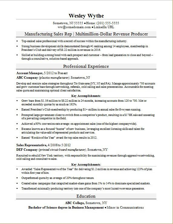 Sample Resume For A Manufacturing Sales Rep  Professional Sales Resume