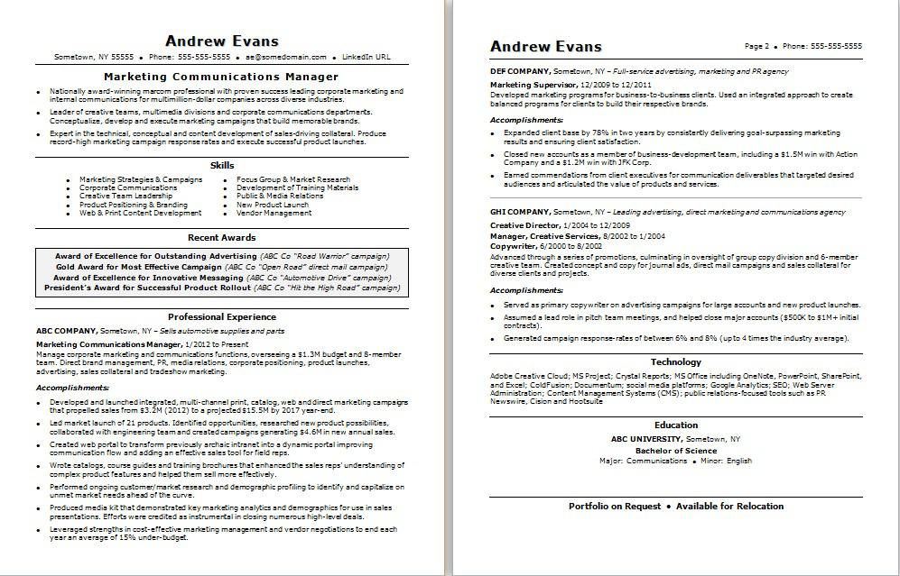 Professional Or Executive Resume Whats The Difference >> Marketing Communications Manager Resume Sample Monster Com