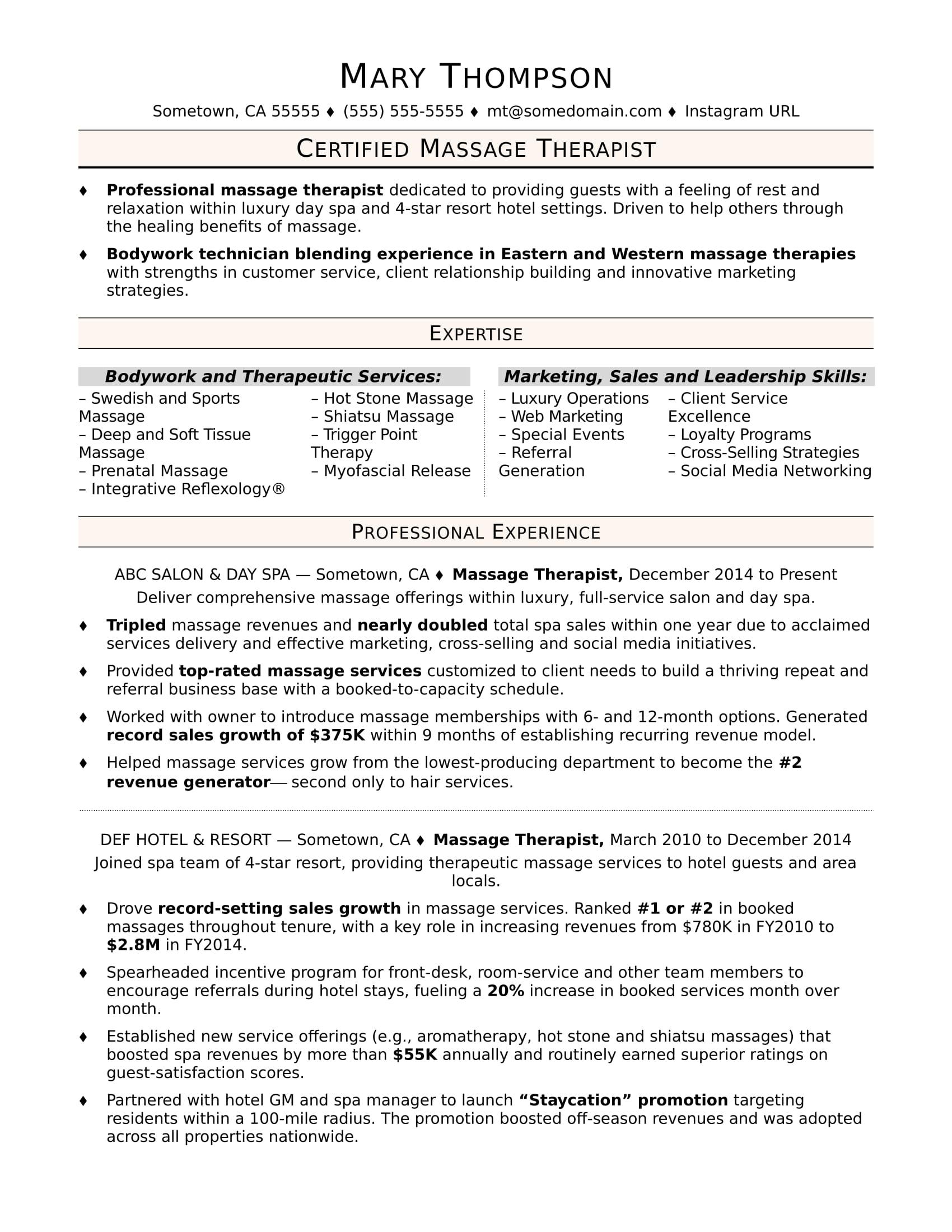 Massage Therapist Resume Sample