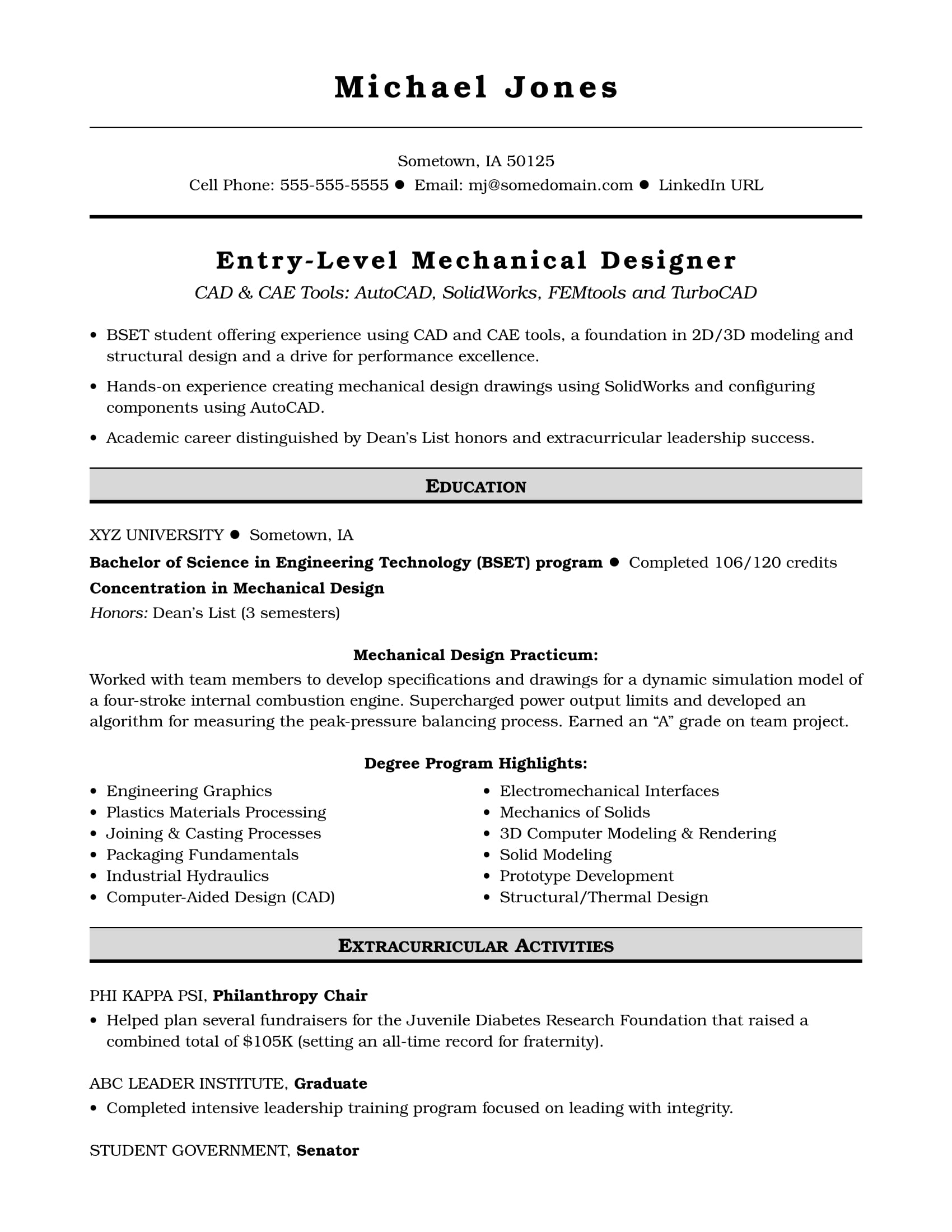Sample Resume For An Entry Level Mechanical Designer