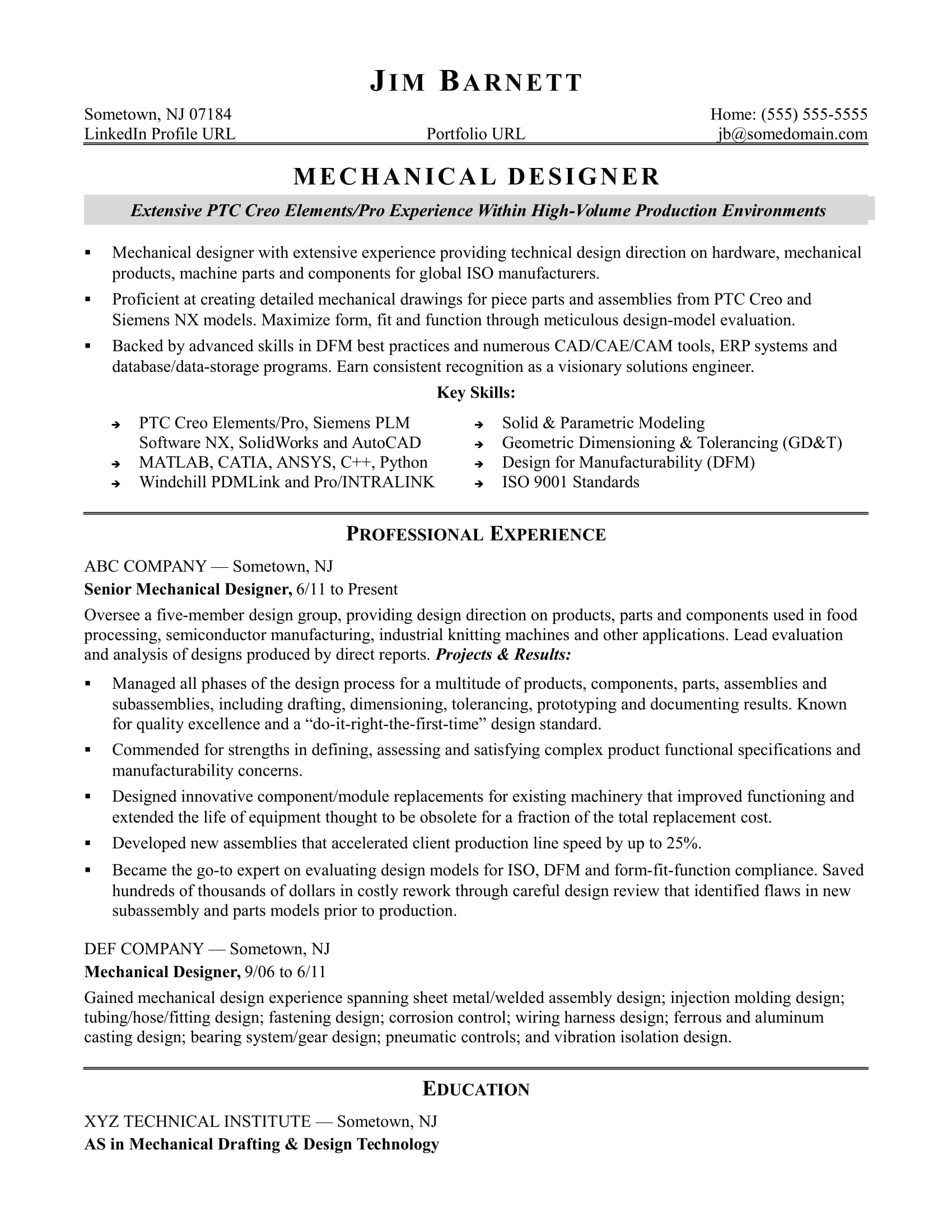 Sample Resume for an Experienced Mechanical Designer