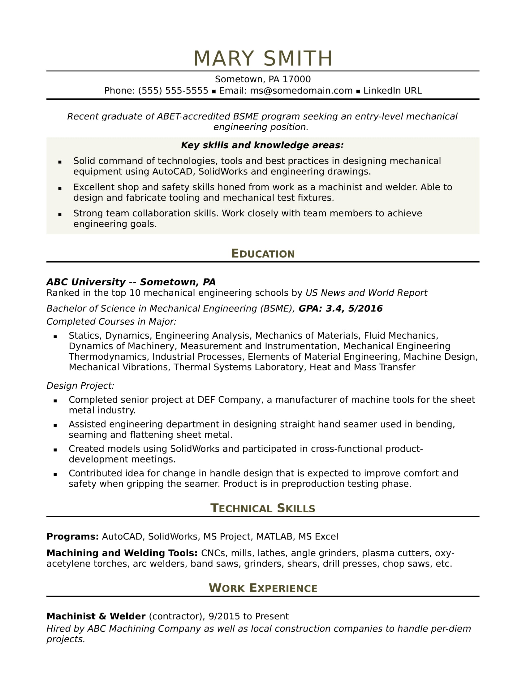 sample resume for an entry level mechanical engineer - Resume Bachelor Of Science
