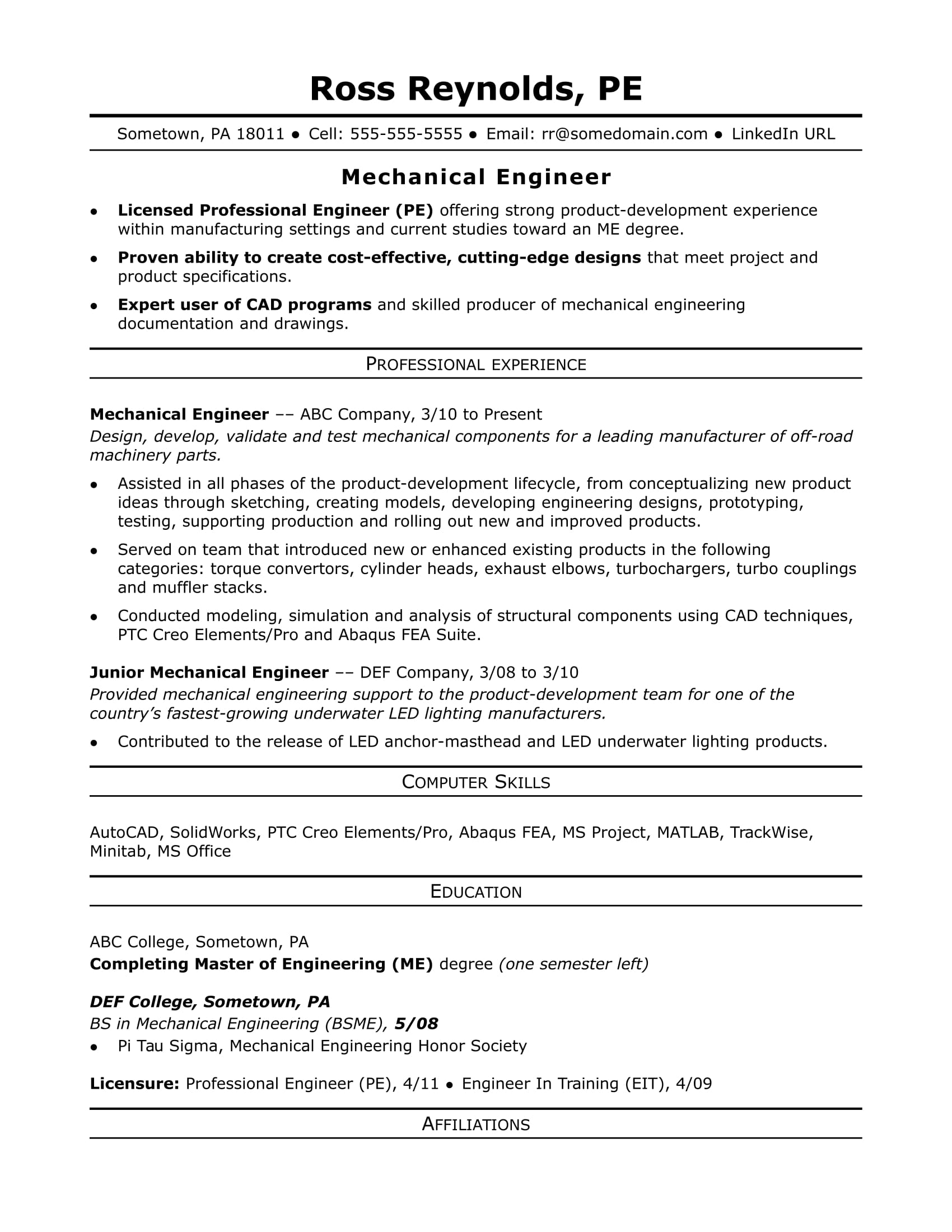 sample resume for a midlevel mechanical engineer - Mid Career Resume Sample