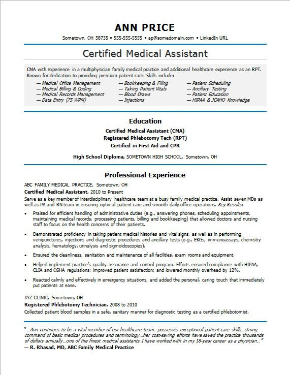 ordinaire Sample resume for a medical assistant