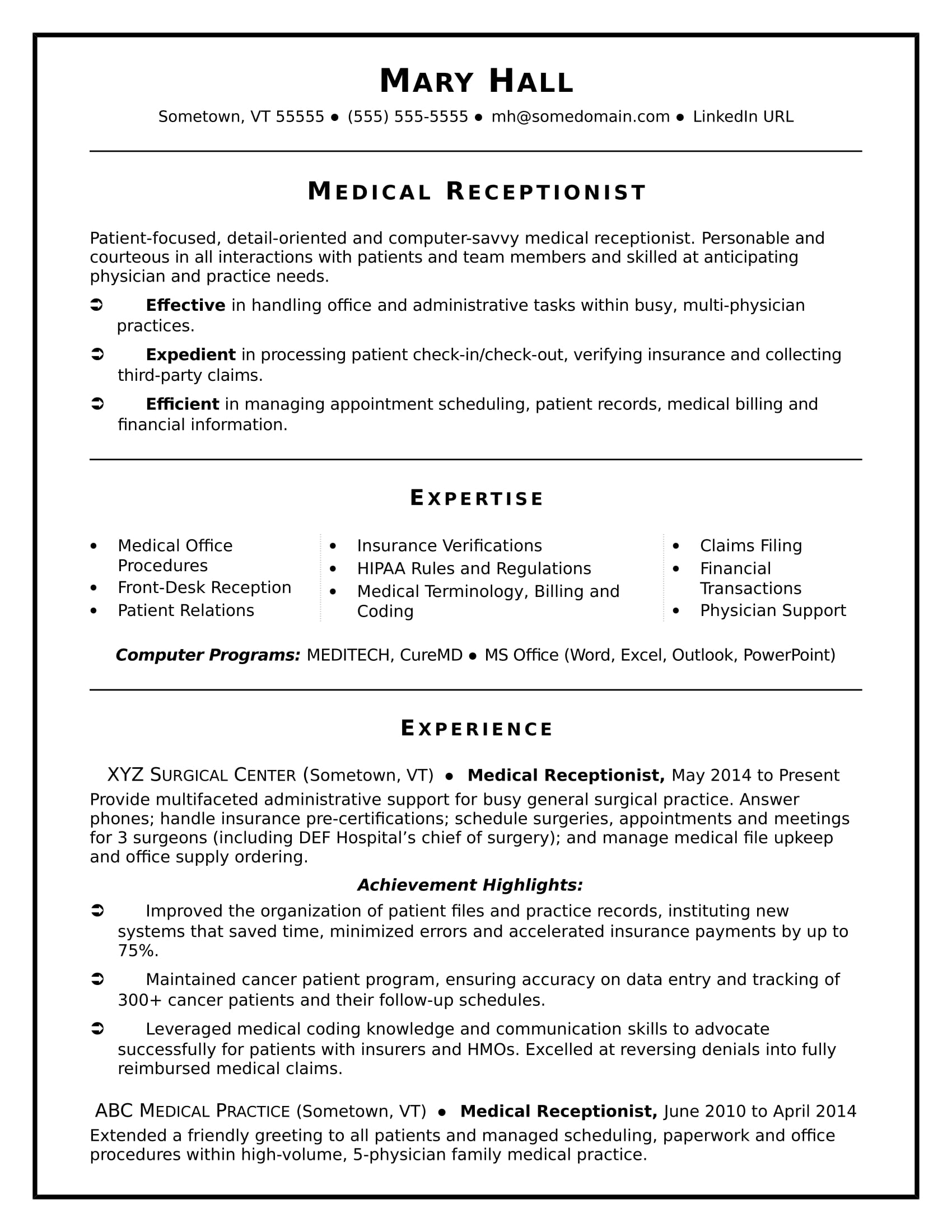 Medical Receptionist Resume Sample  Receptionist Responsibilities Resume