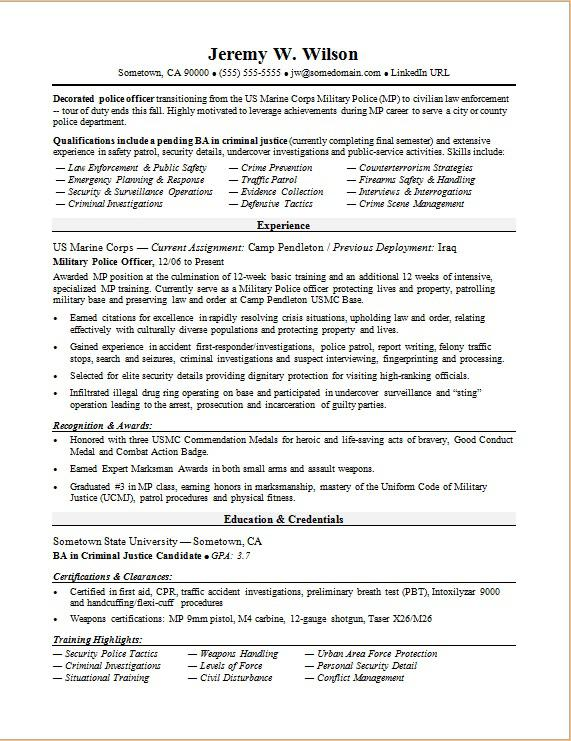 Police Officer/Military-to-Civilian Resume Sample | Monster.com