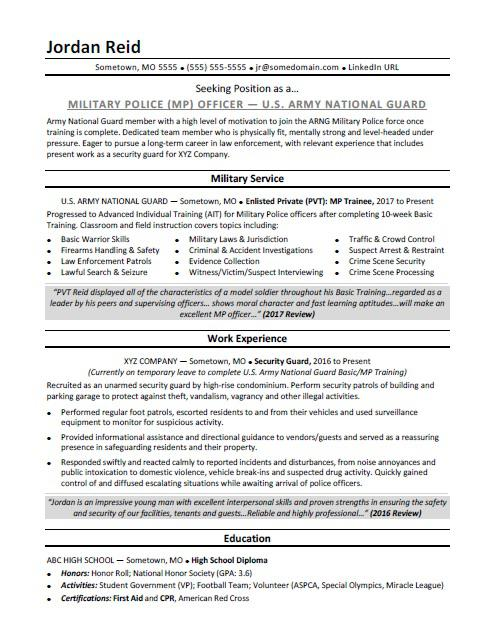 Military Resume Sample  MonsterCom