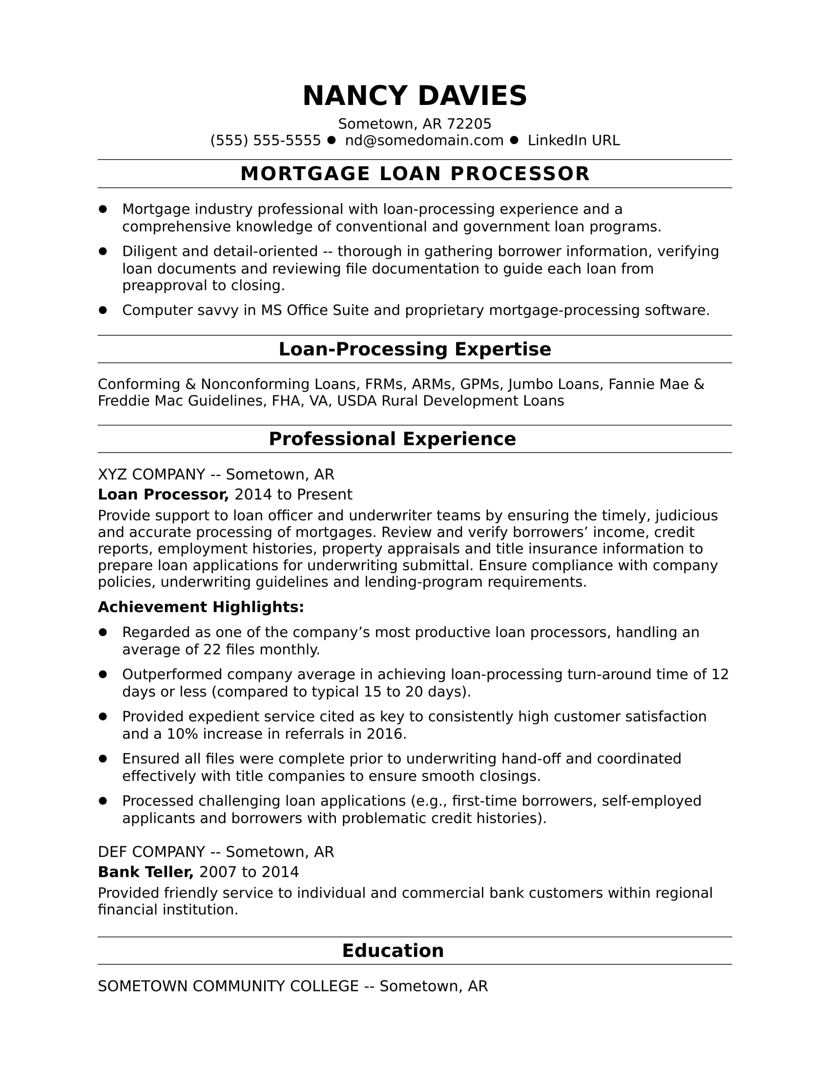 Mortgage Loan Processor Resume Sample