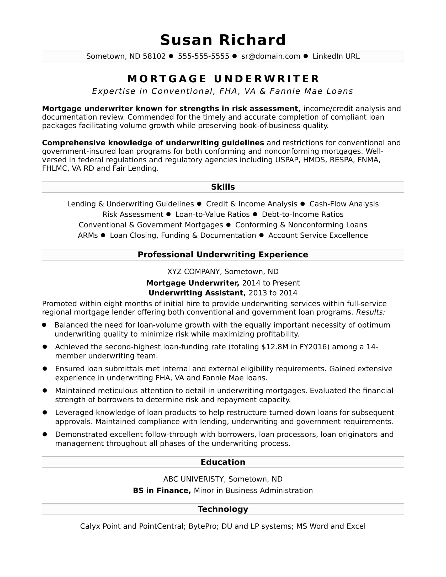Sample Resume For A Mortgage Underwriter  Example Of An Resume