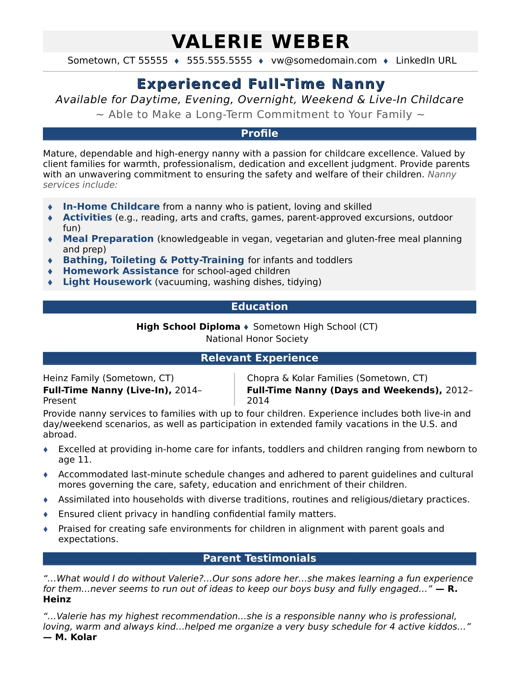 Nanny Resume Sample  Childcare Resume