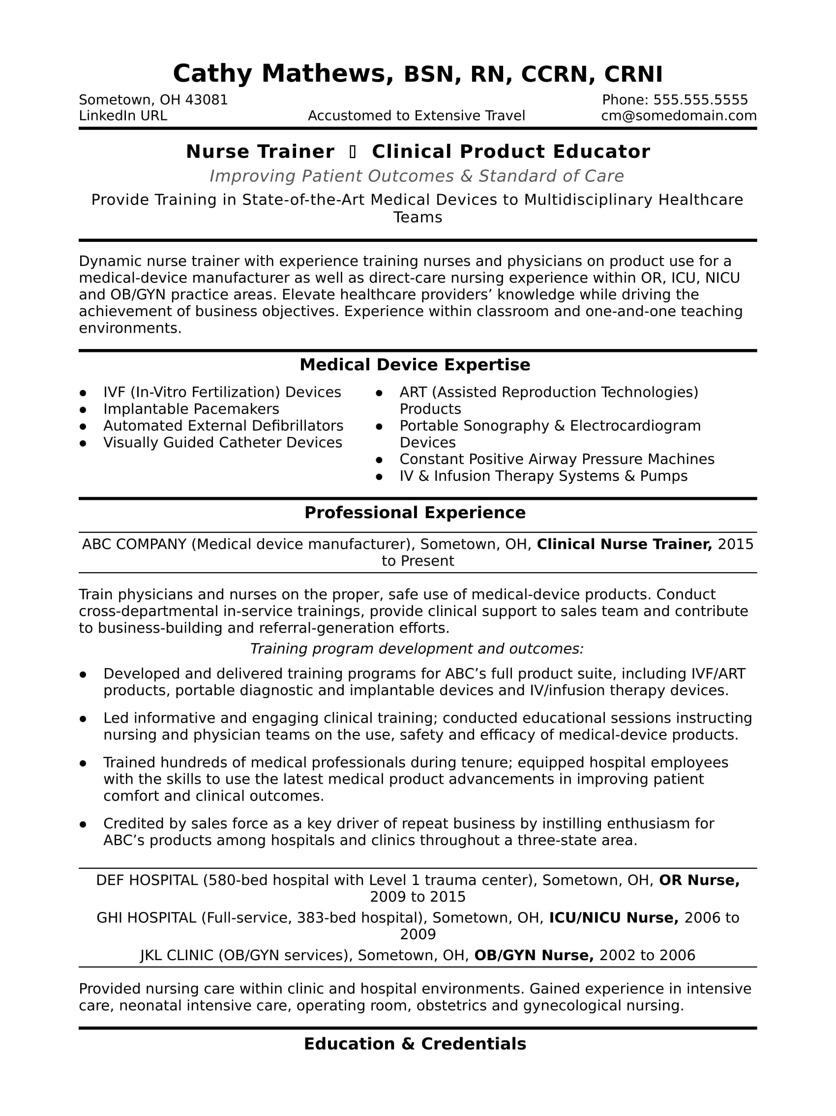 Sample Resume For A Nurse Trainer  Healthcare Resume Samples