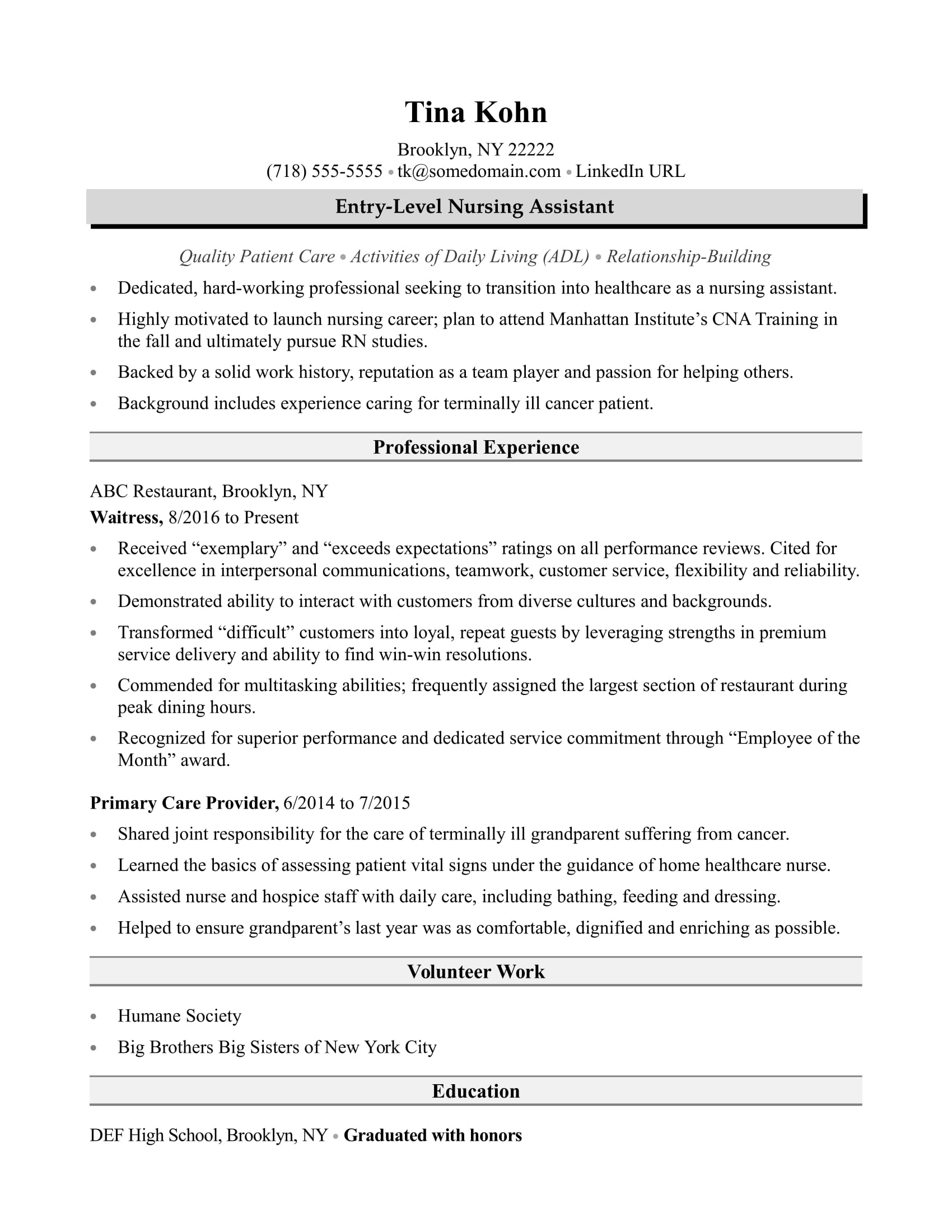 resume sample for aged care worker