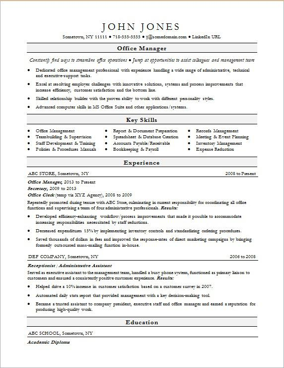 Sample resume for an office manager