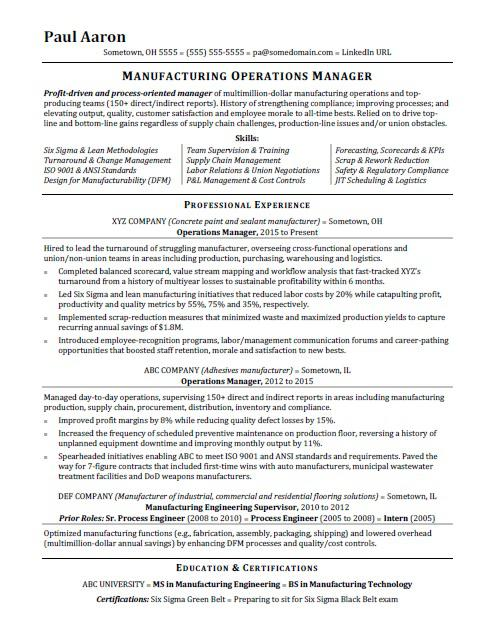 Superior Operations Manager Resume Sample