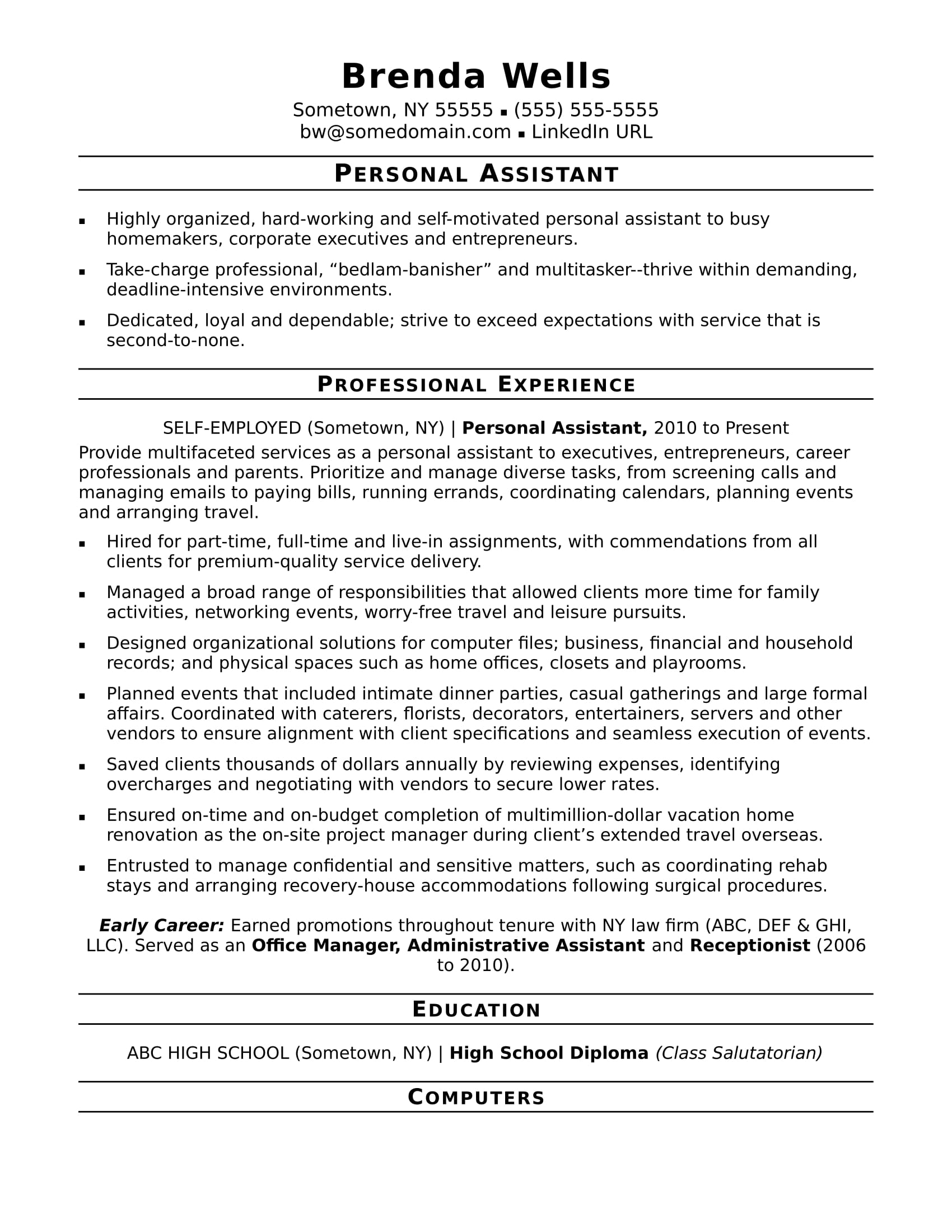 personal assistant resume sample - Homemaker Resume Samples