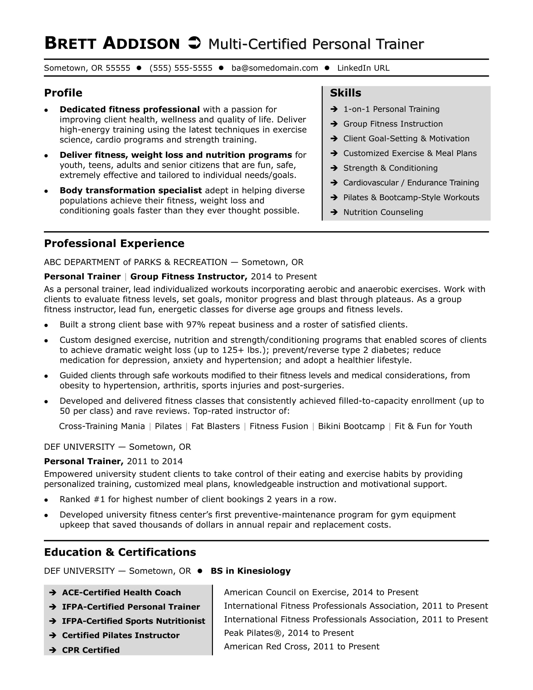 personal trainer resume sample - Personal Training Resume