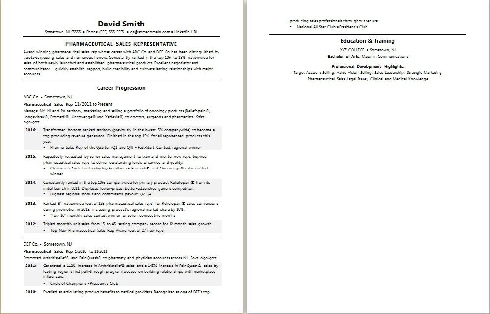 High Quality Pharmaceutical Sales Resume Sample