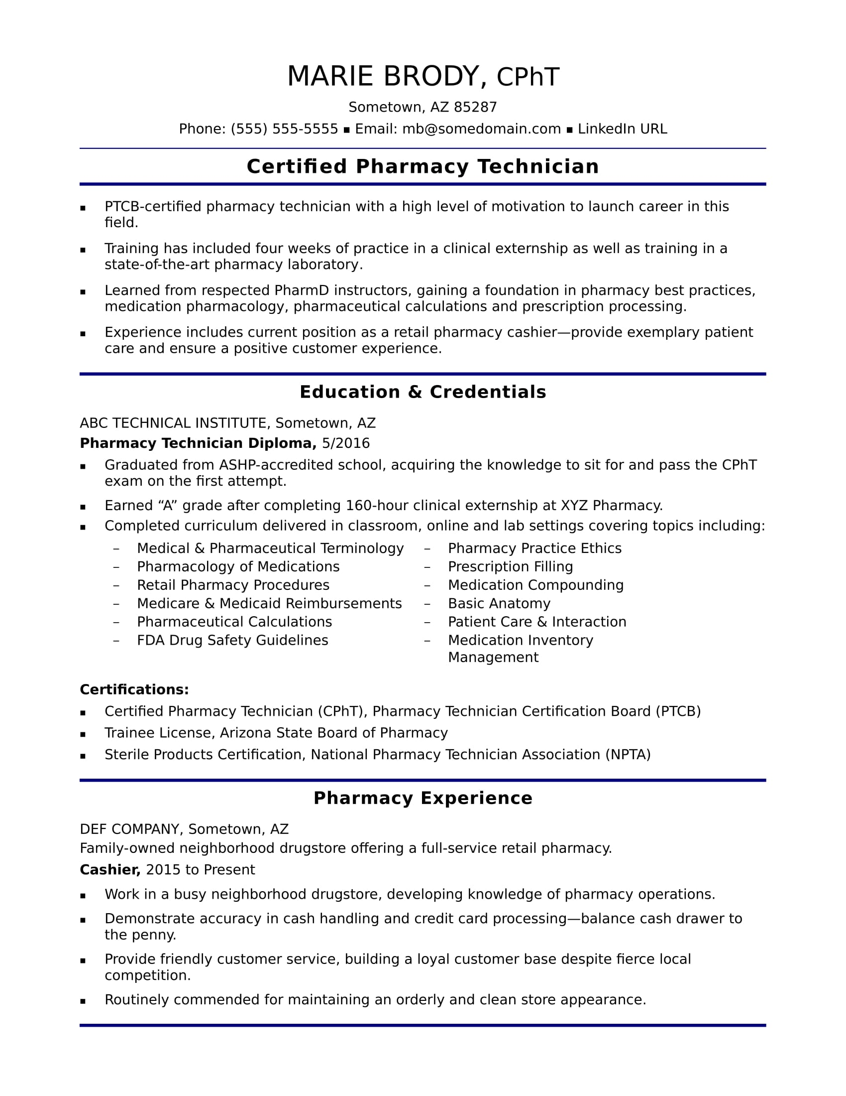 sample resume for an entry level pharmacy technician