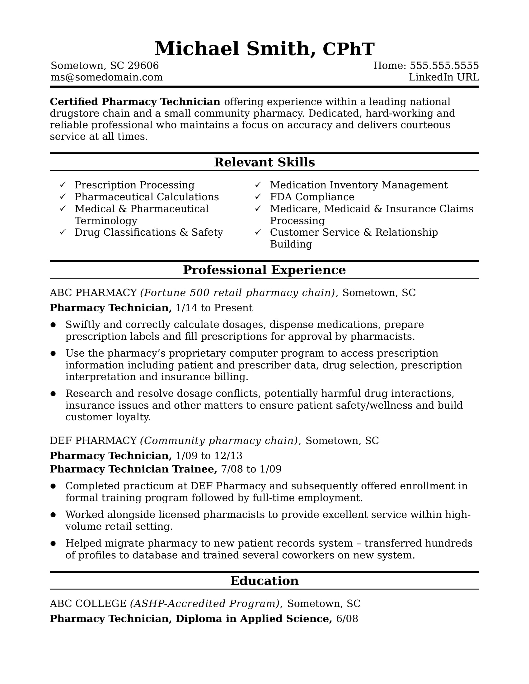 Merveilleux Sample Resume For A Pharmacy Technician