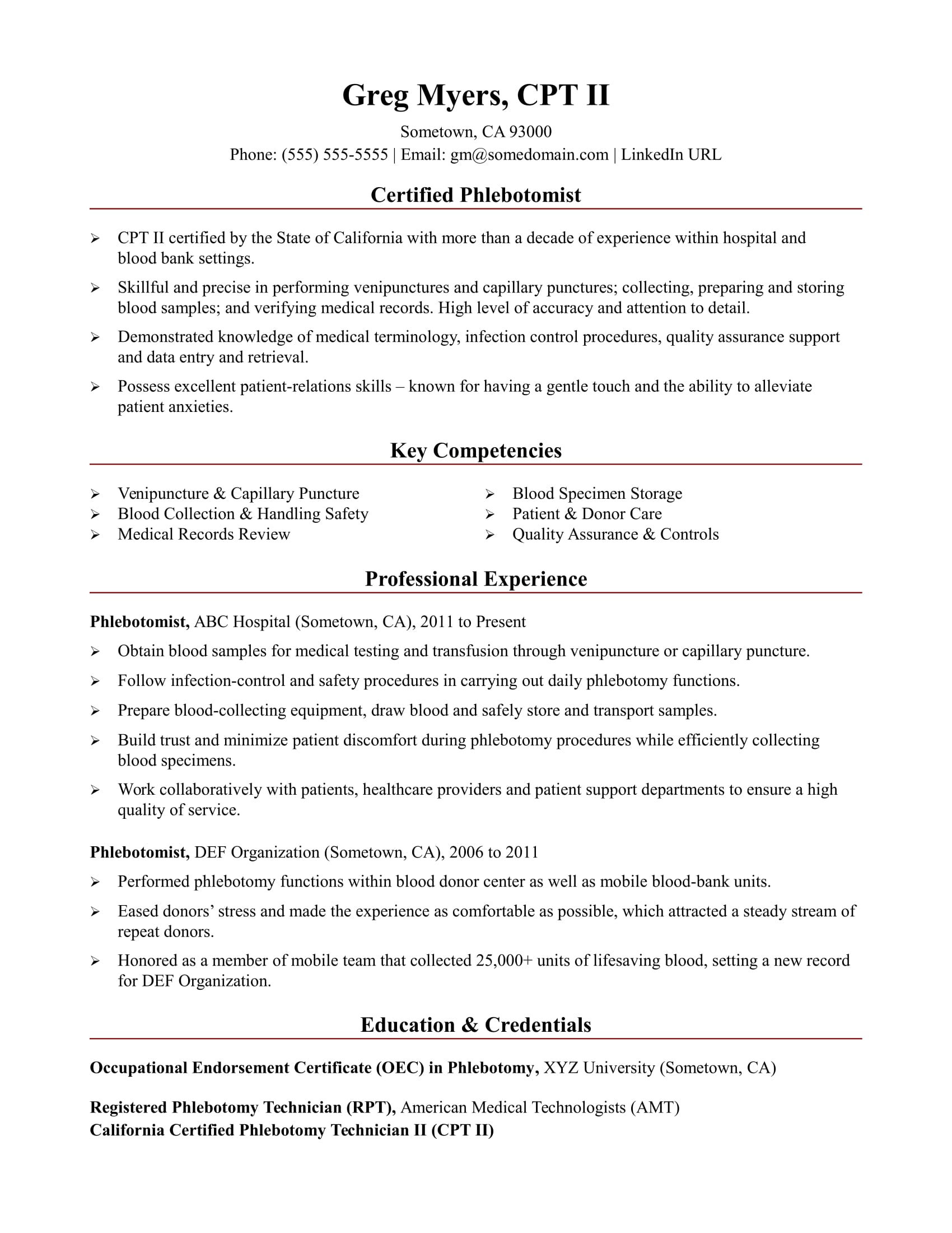 Sample Resume For A Phlebotomist  Phlebotomy Technician Resume