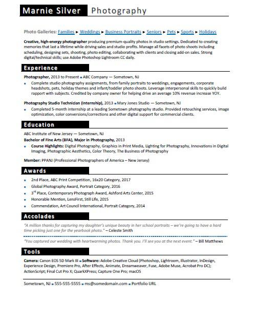 Photographer Resume Sample  Internship On A Resume
