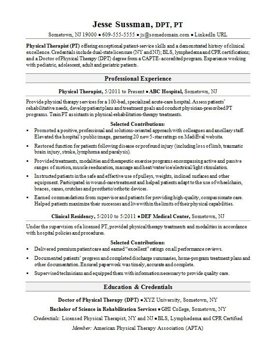 Great Sample Resume For A Physical Therapist Idea Physical Therapy Resume Sample