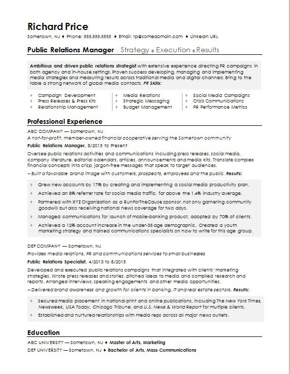 sample resume for a public relations manager monster com