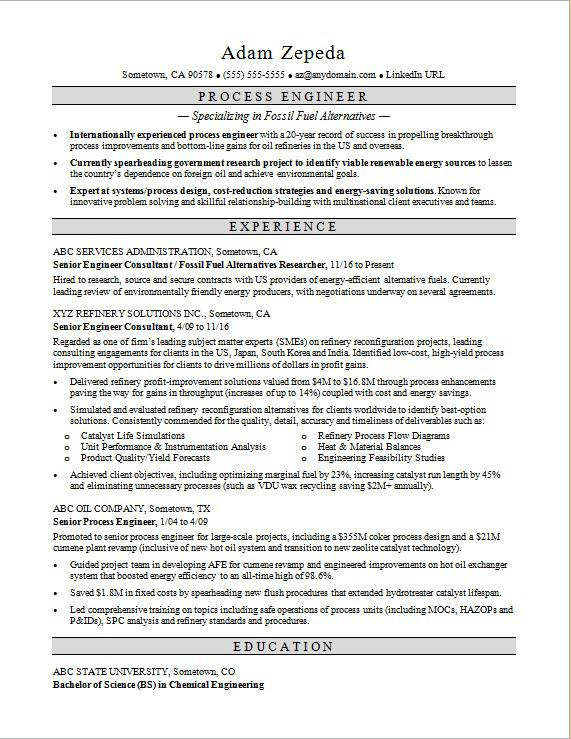 Sample resume for a process engineer