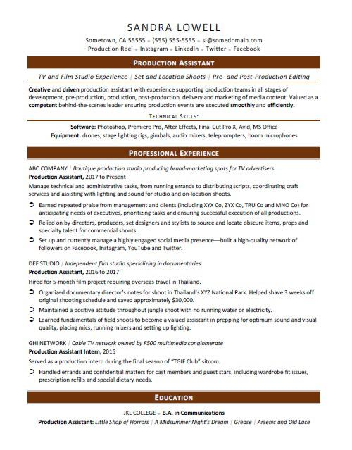 Production Assistant Resume Sample  Film Production Assistant Resume