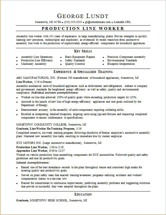 sample resume for a production line worker - Assembly Line Resume
