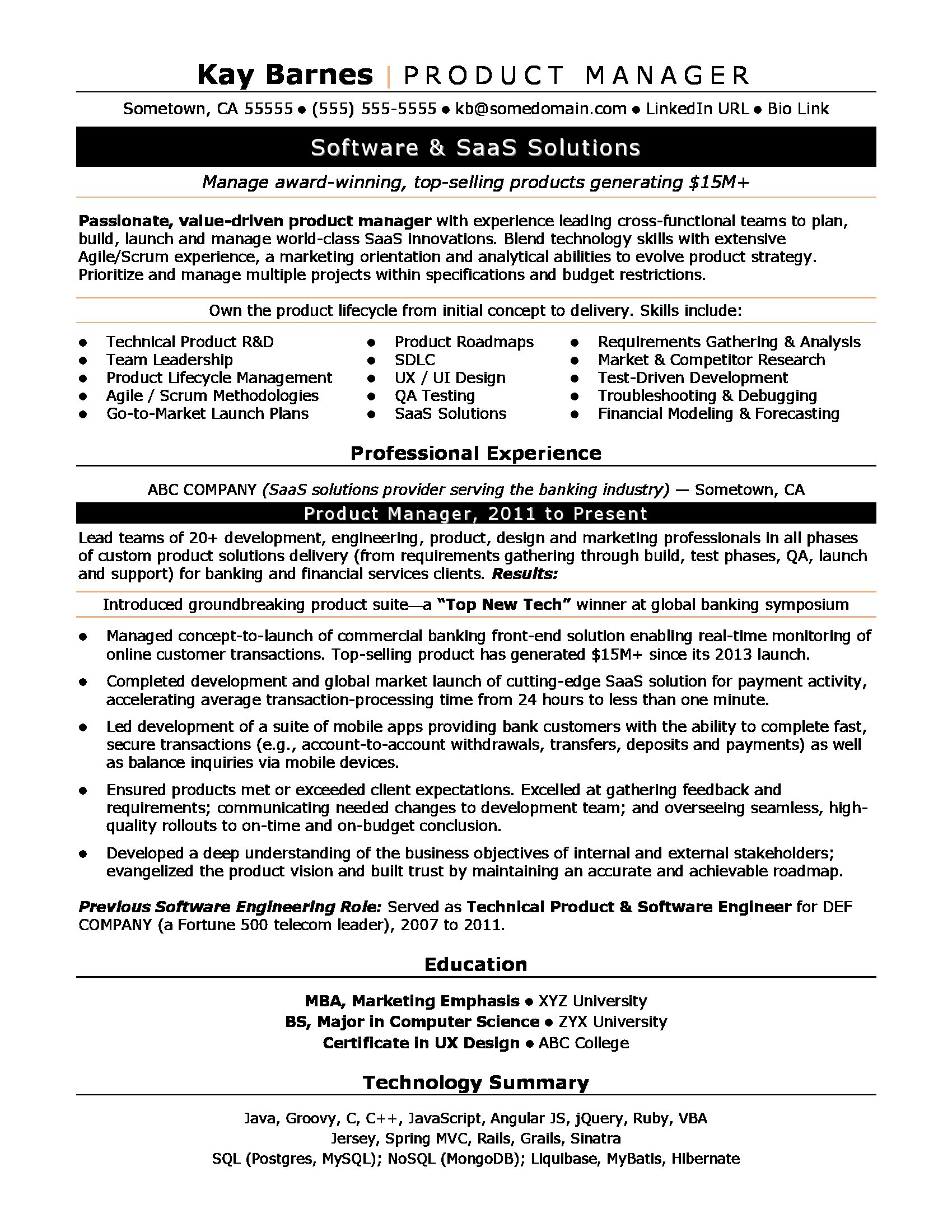 Product Manager Resume Sample  Technical Resume Tips