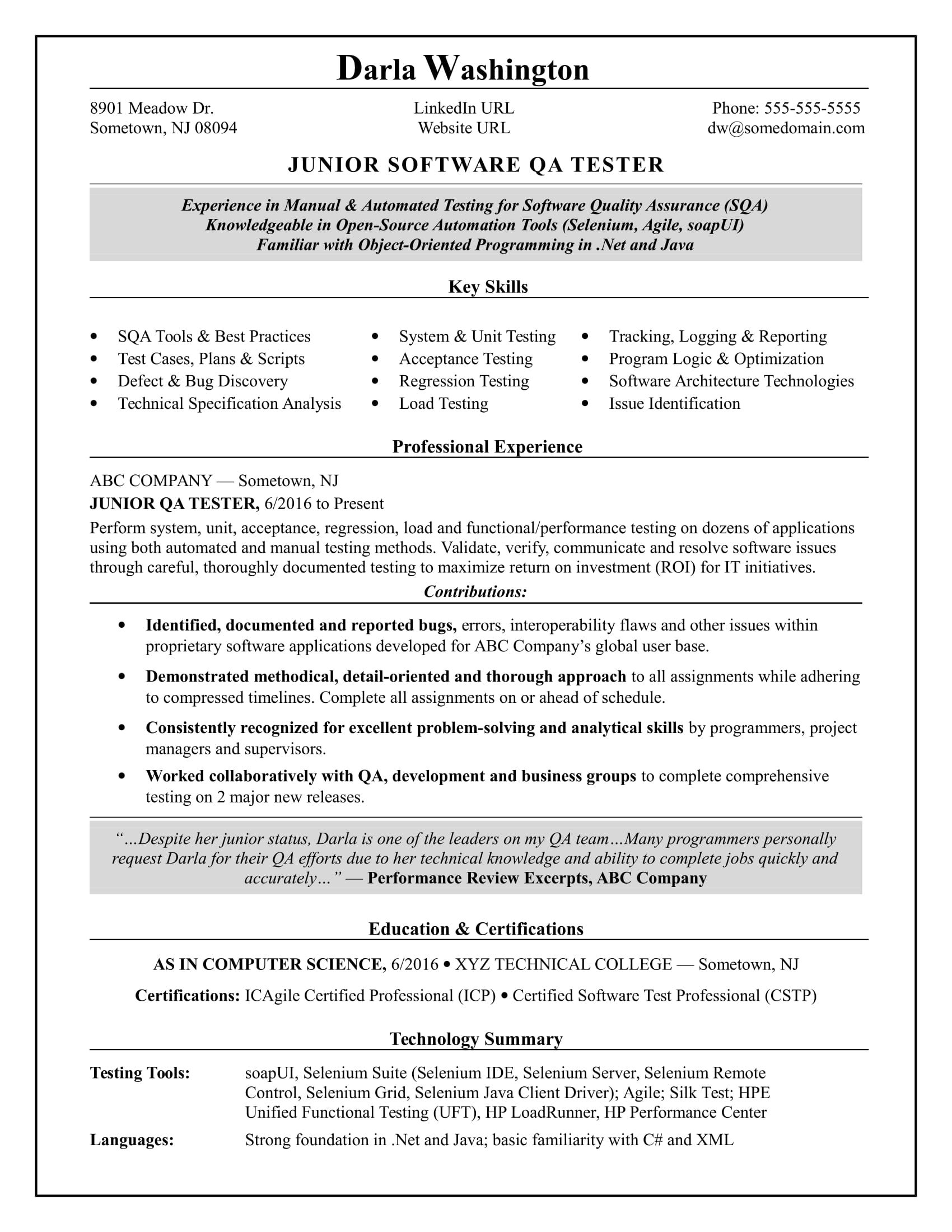 Entry Level QA Software Tester Resume Sample
