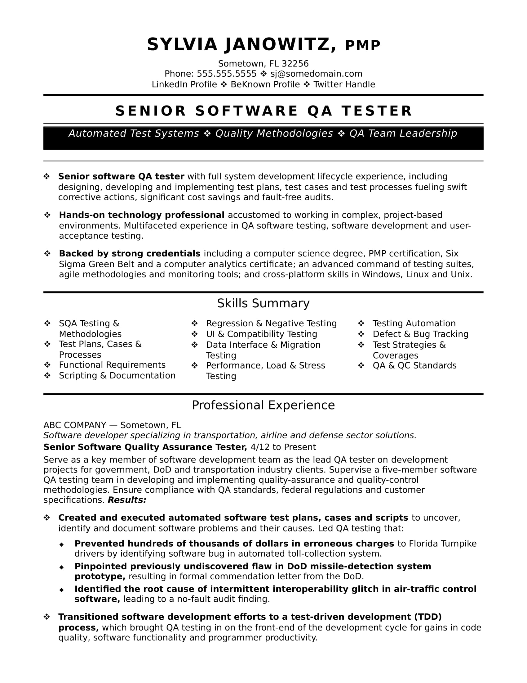 Exceptional Experienced QA Software Tester Resume Sample